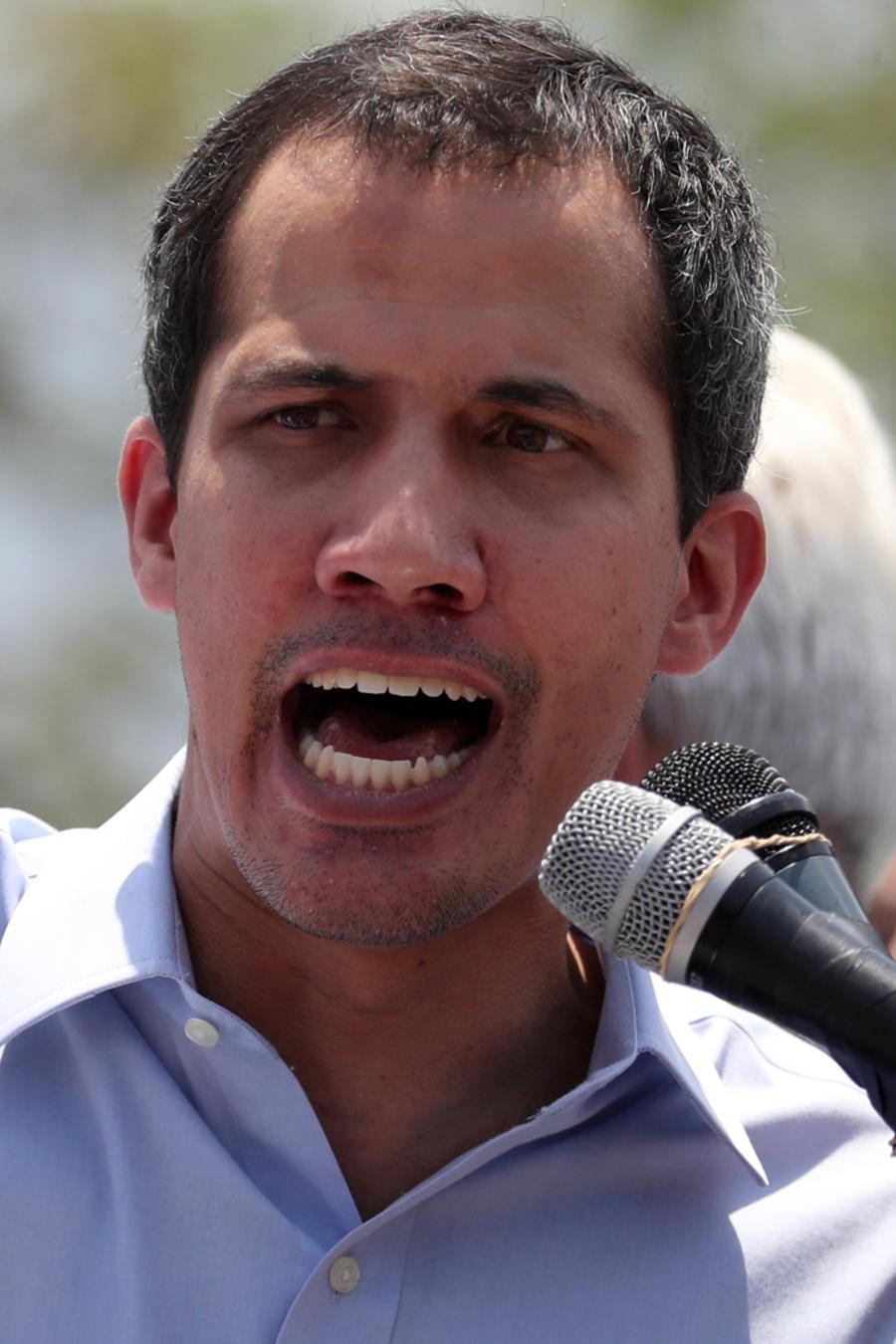 El presidente interino de Venezuela, Juan Guaidó, hoy en un discurso que pronunció en Caracas