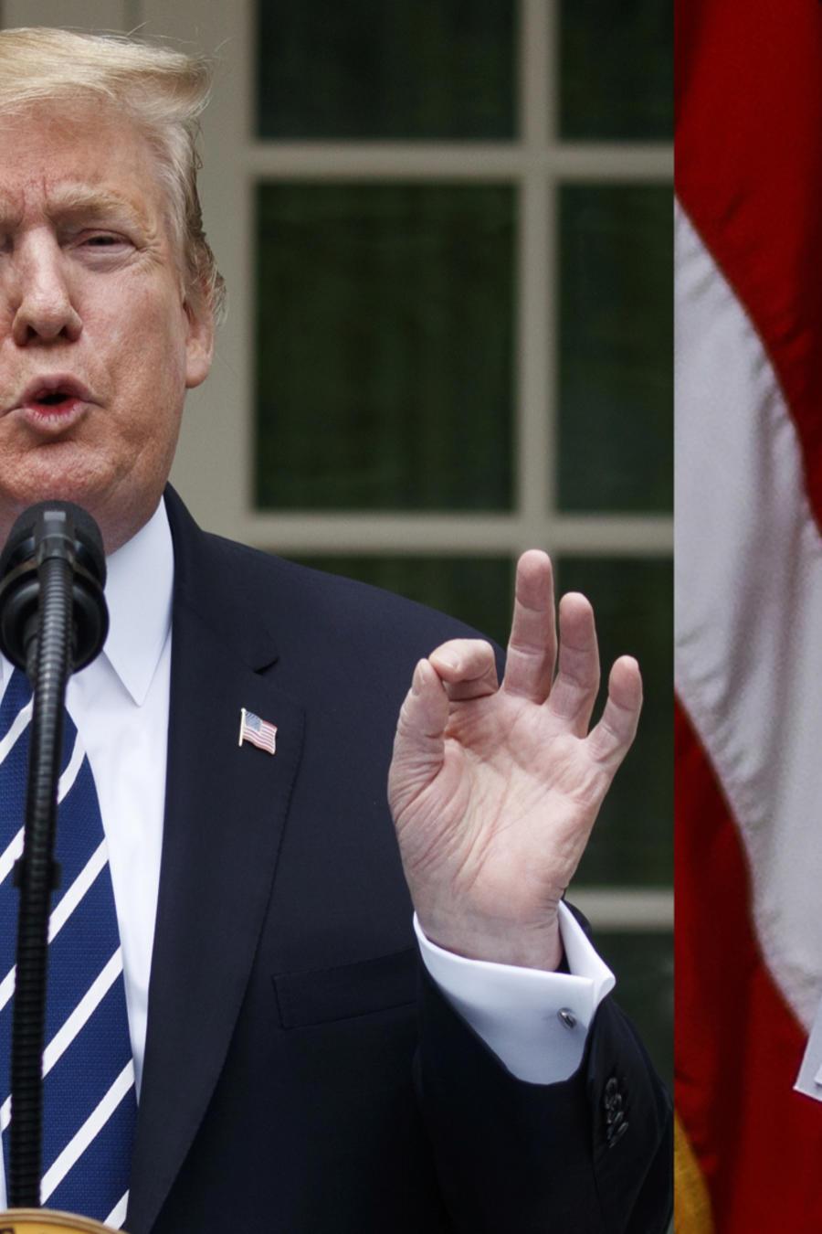 Trump, durante un discurso el miércoles en la Casa Blanca. A la derecha, sus notas.