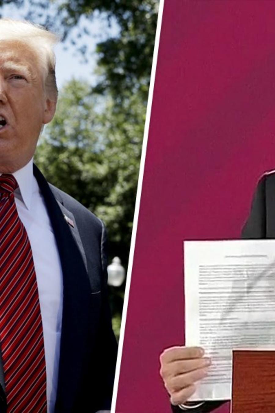 Fotografías combinadas del presidente, Donald Trump (izq) y el canciller mexicano, Marcelo Ebrard