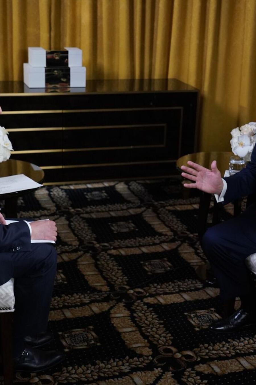 Jose Díaz-Balart entrevista a Donald Trump el miércoles en Florida.