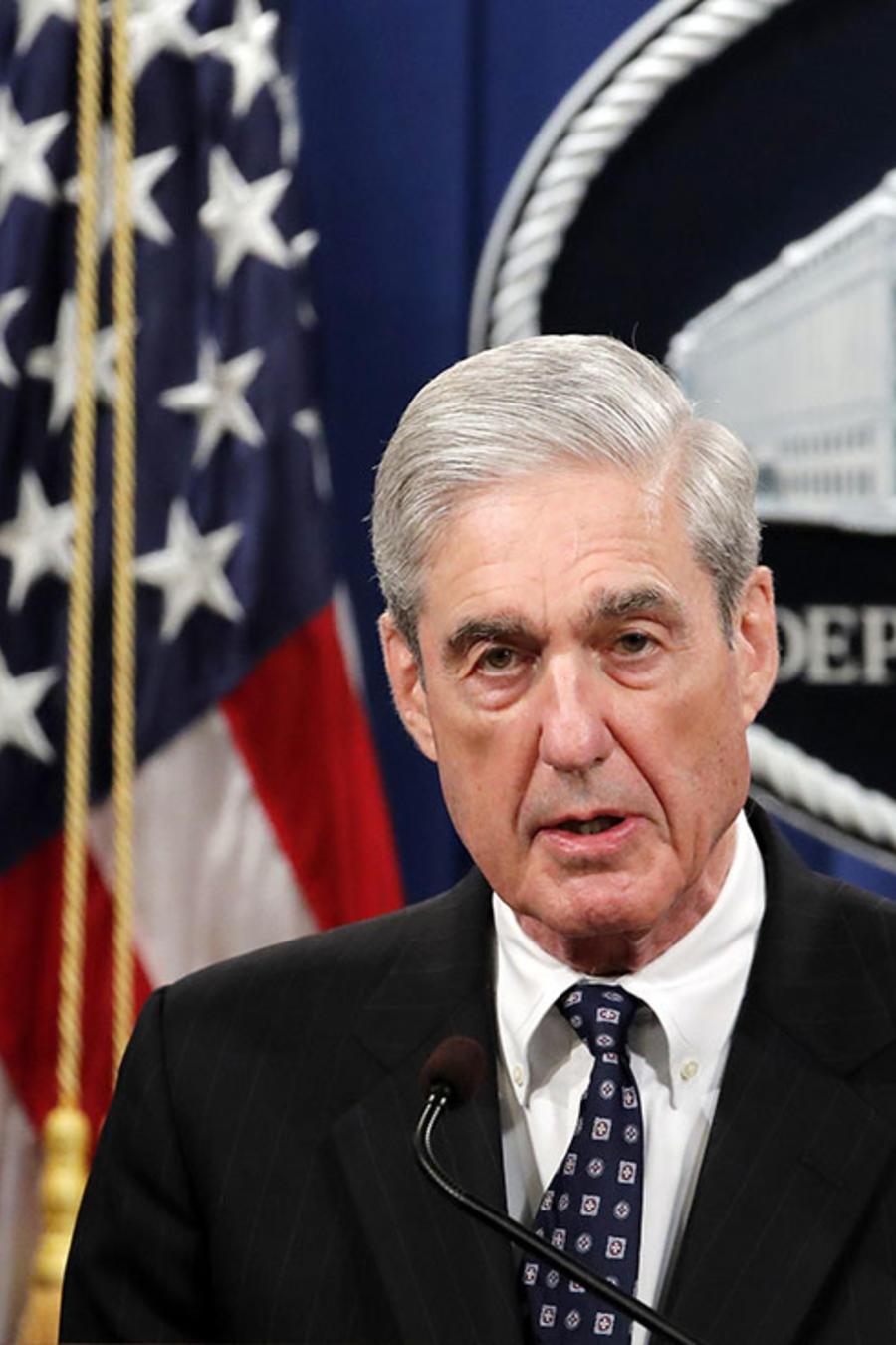 El fiscal especial de la trama rusa, Robert Mueller, durante declaraciones en el Departamento de Justicia, en Washington.