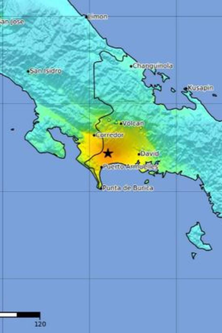 Imagen facilitada este miércoles por el Servicio Geológico de Estados Unidos (USGS) que muestra el epicentro de un terremoto en la frontera entre Panamá y Costa Rica.