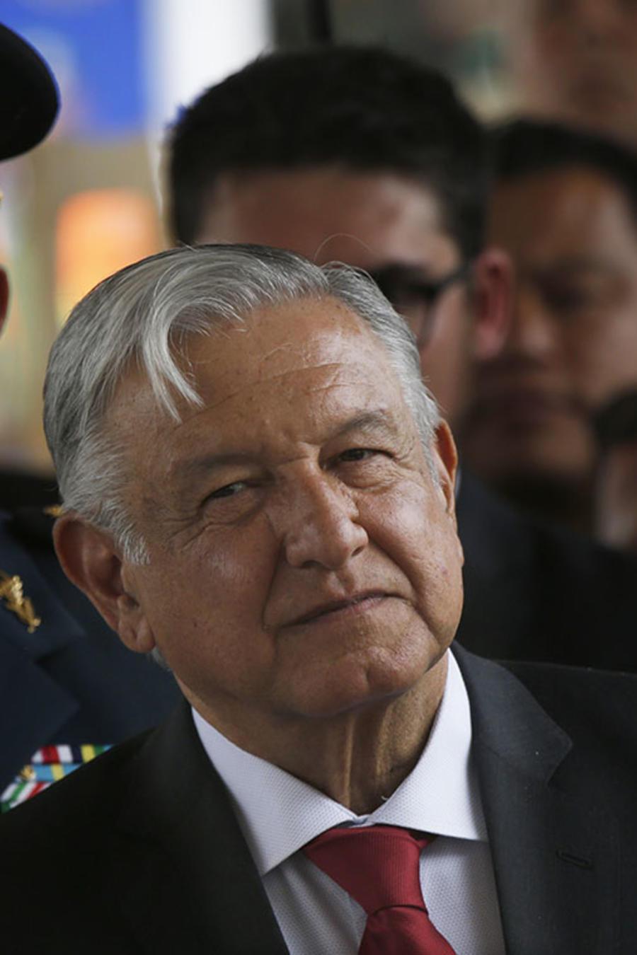 El presidente de México, Andrés Manuel López Obrador, durante una ceremonia militar en la Ciudad de México.