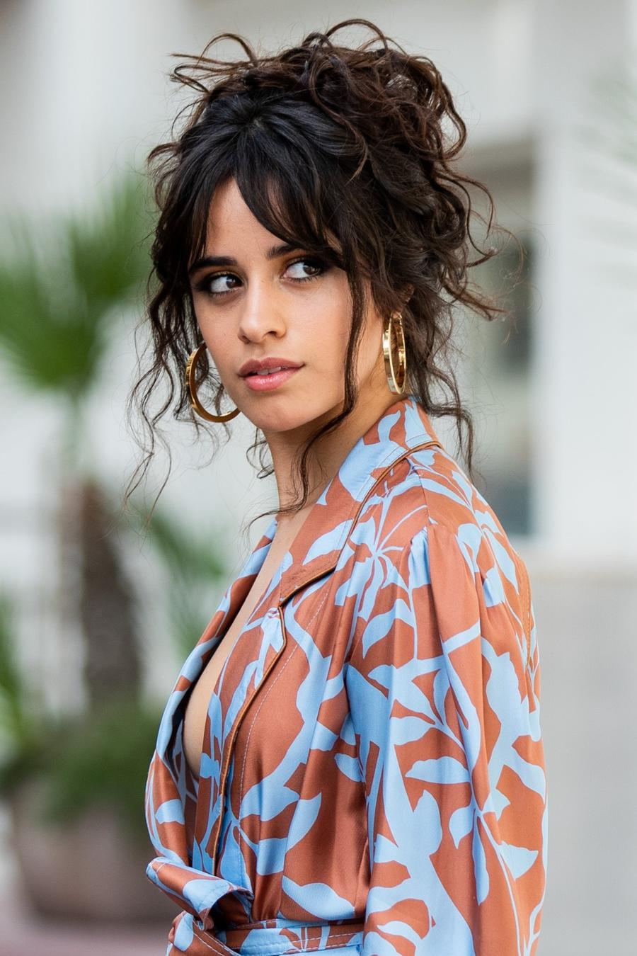 Camila Cabello wearing a blue and orange kimono