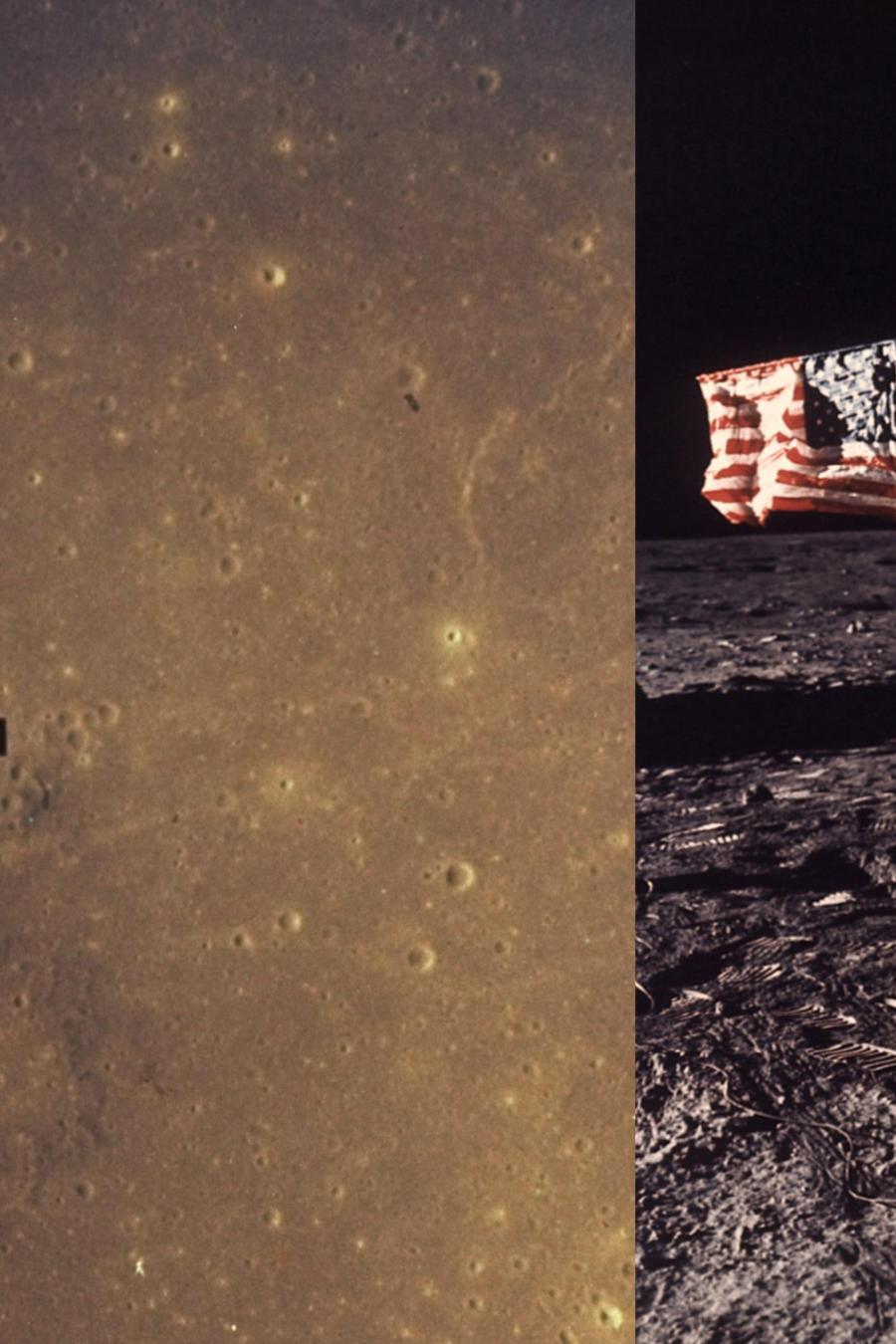 Imagen del descenso de la sonda hacia la Luna y de Aldrin sobre la superficie.