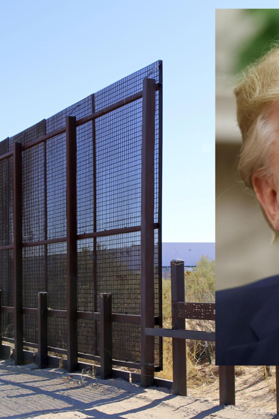 Imagen de archivo del muro fronterizo. A la derecha, Trump.