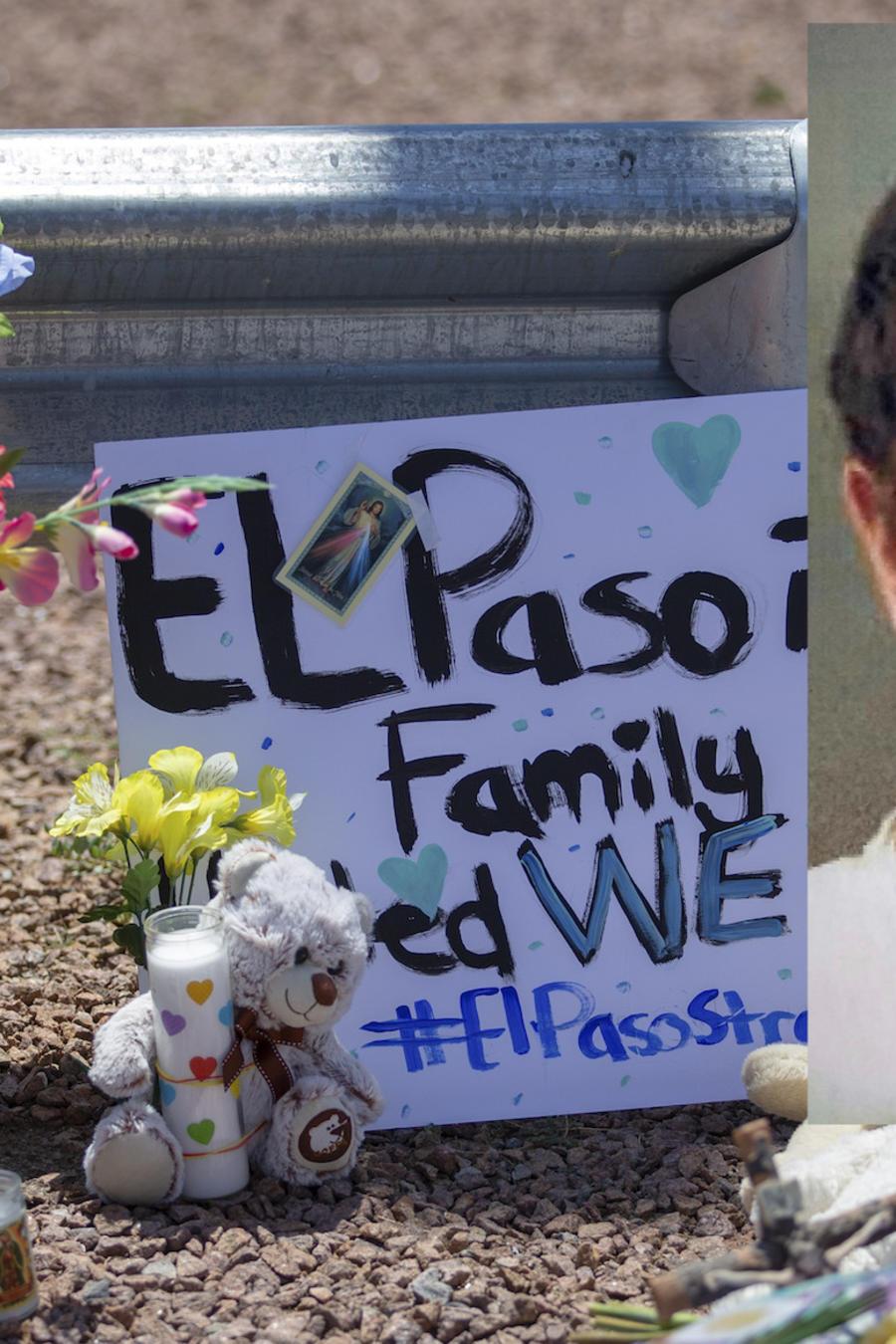 Unas flores y una imagen de la Virgen de Guadalupe en honor a las víctimas de El Paso. A la derecha, Patrick Wood Crusius.