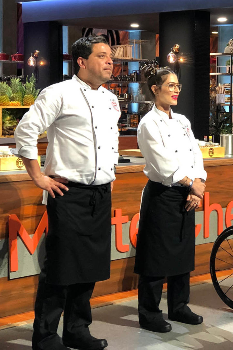 Javier Seañez John Pardo y Lauren Arboleda en la gran final de MasterChef Latino 2