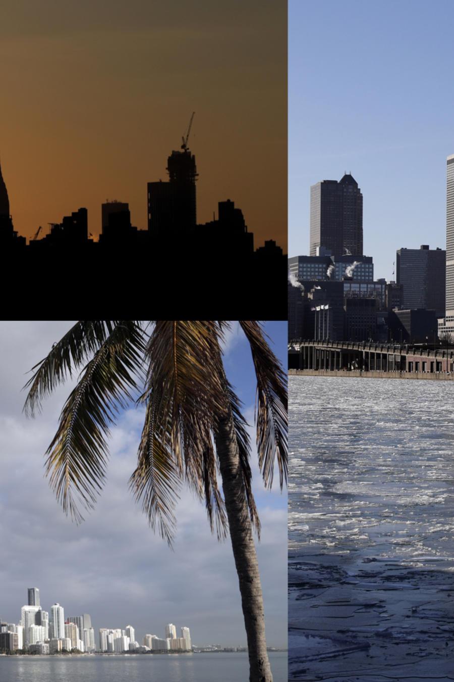 Imágenes de archivo de Nueva York (arriba), Miami, y Chicago (a la derecha).