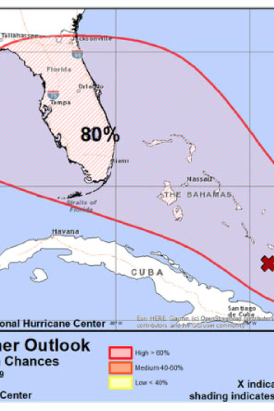 Pronóstico del jueves sobre la tormenta acercándose a Florida.