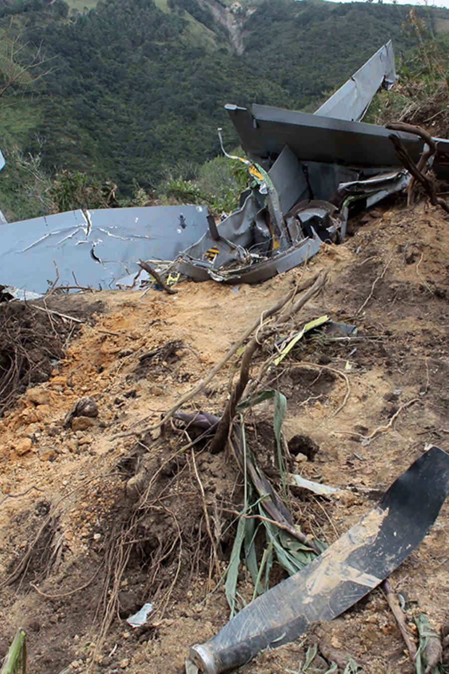 Imagen de archivo del accidente de una avioneta en Jambalo, al sur de Colombia.