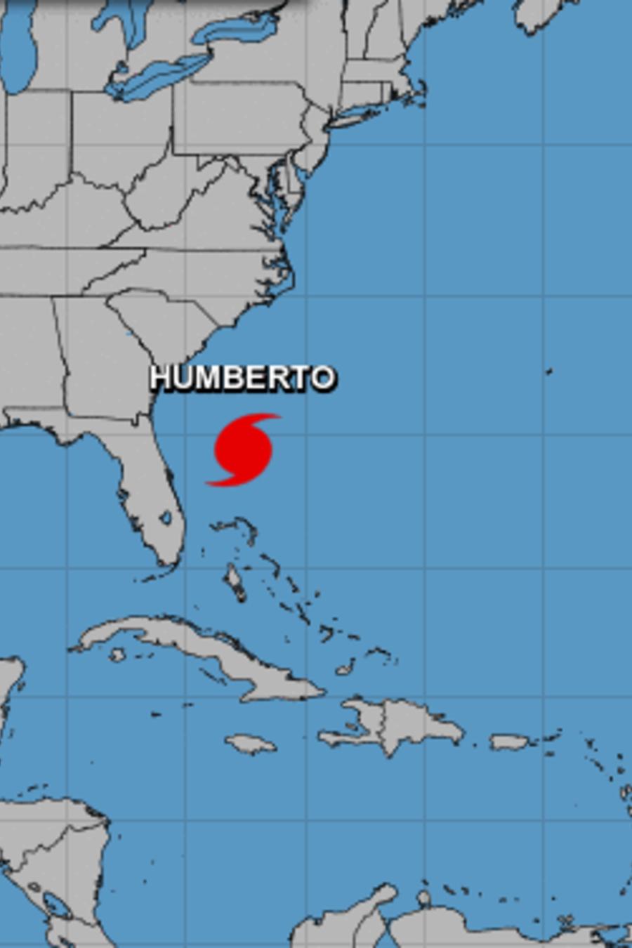 Imagen de la ubicación del huracán Humberto, de categoría 1.