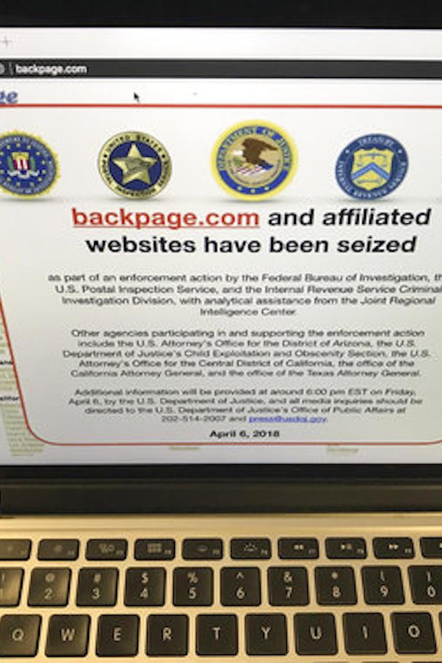 Imagen de archivo de una captura de pantalla del sitio web Backpage.