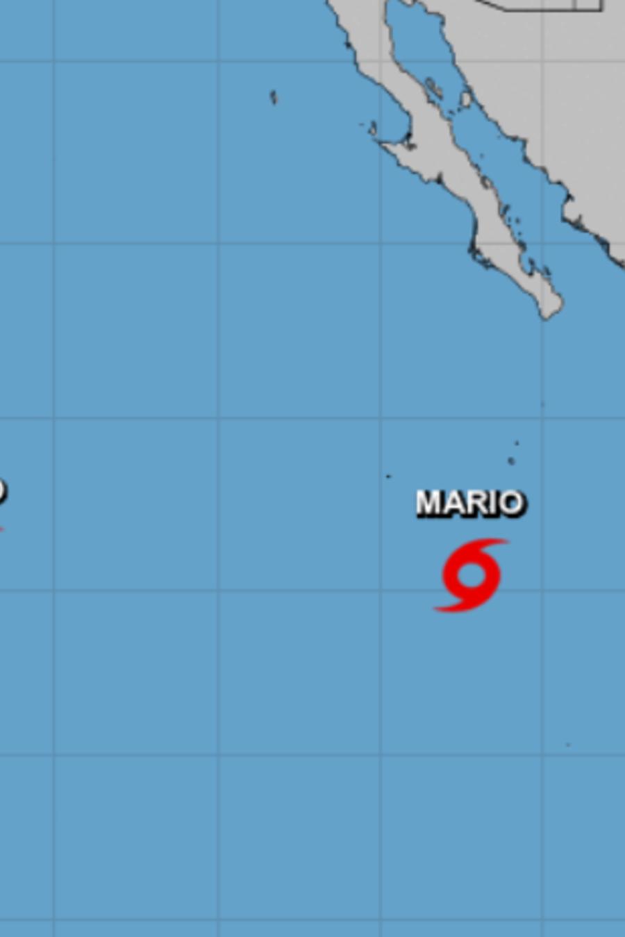 Mapa que ilustran la presencia del huracán Lorena y otras tormentas en el Pacífico.