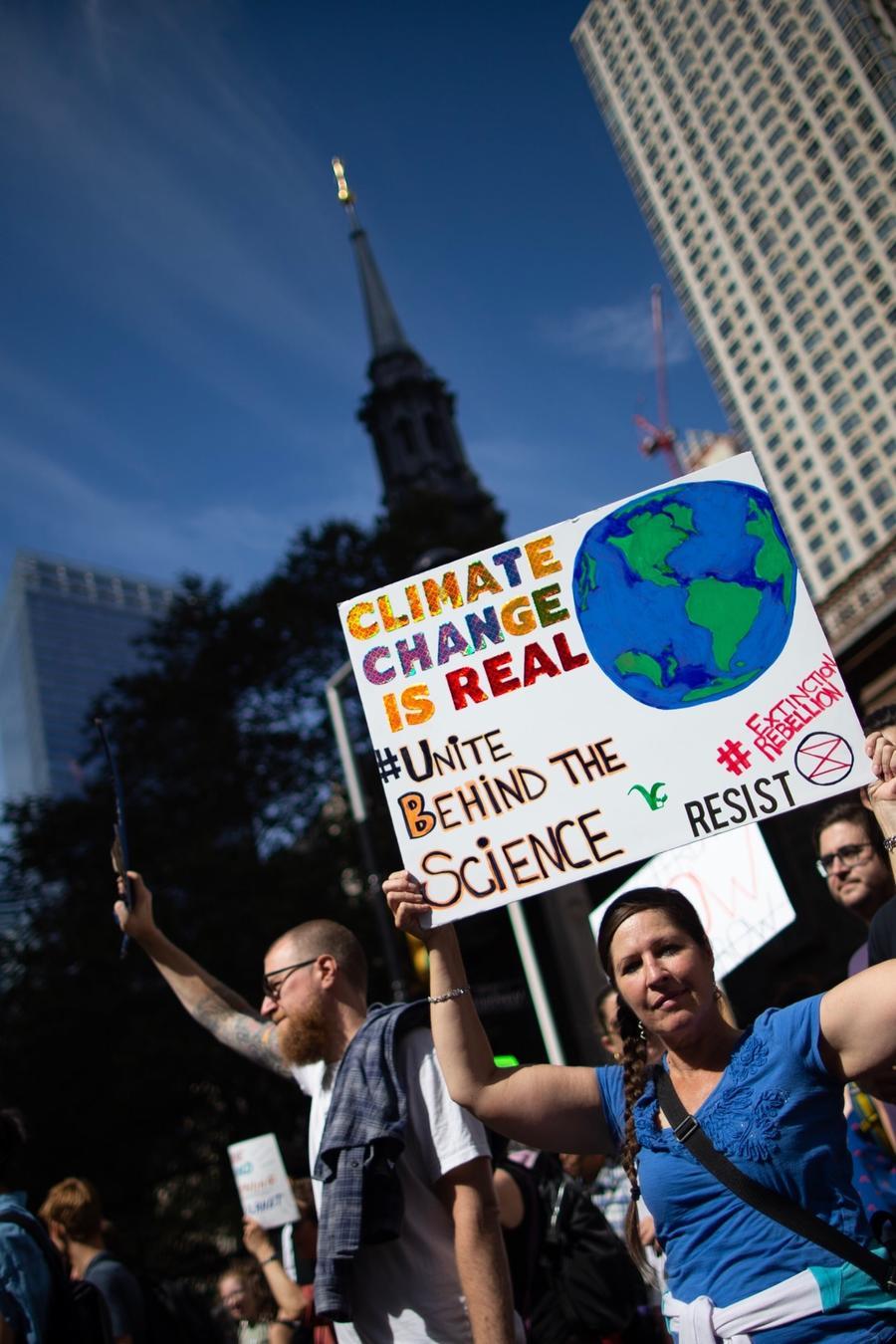 Manifestantes en Nueva York durante las protestas globales contra el cambio climático