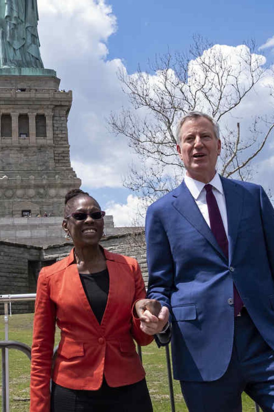 El alcalde de Nueva York, Bill de Blasio, junto a su esposa en una foto de archivo.