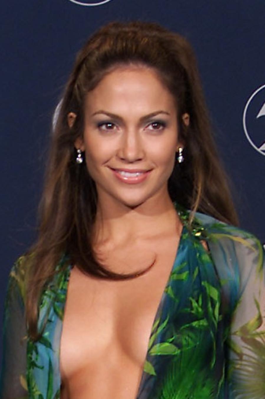 Jennifer Lopez wearing green versace dress