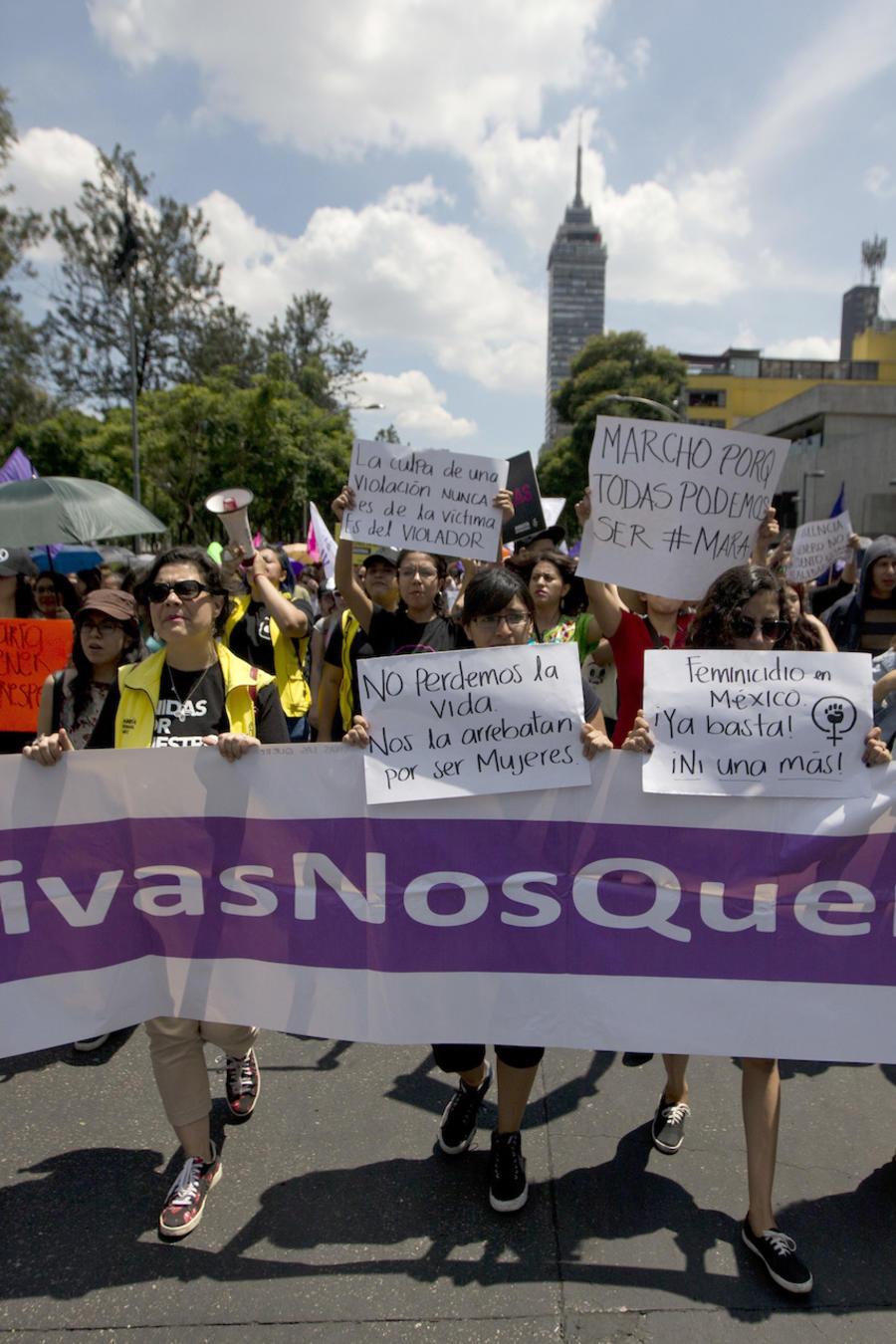 Imagen de archivo de una marcha en contra de la violencia de género en México en septiembre de 2017.