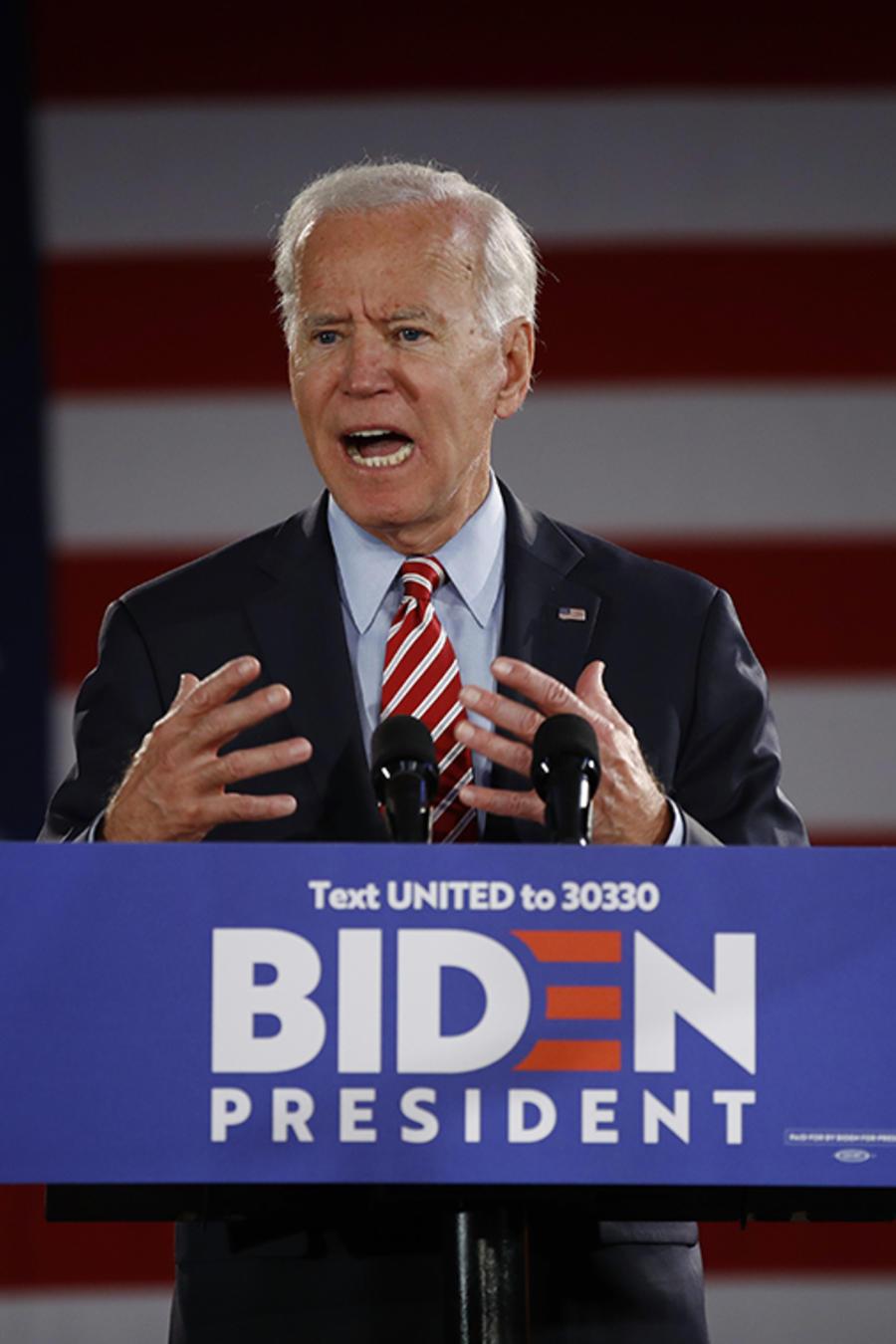 El precandidato demócrata y ex vicepresidente Joe Biden durante una charla en Scranton, Pensilvania.