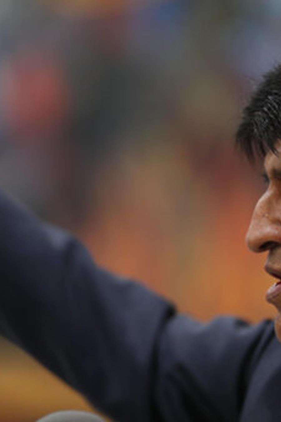 El presidente de Bolivia, Evo Morales, este jueves en una conferencia de prensa mantenida en La Paz, la capital del país.
