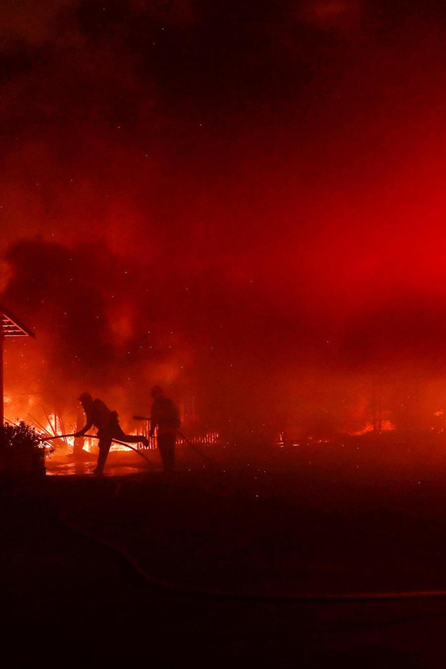 Bomberos combaten las llamas en el incendio Kincade, en el norte de California