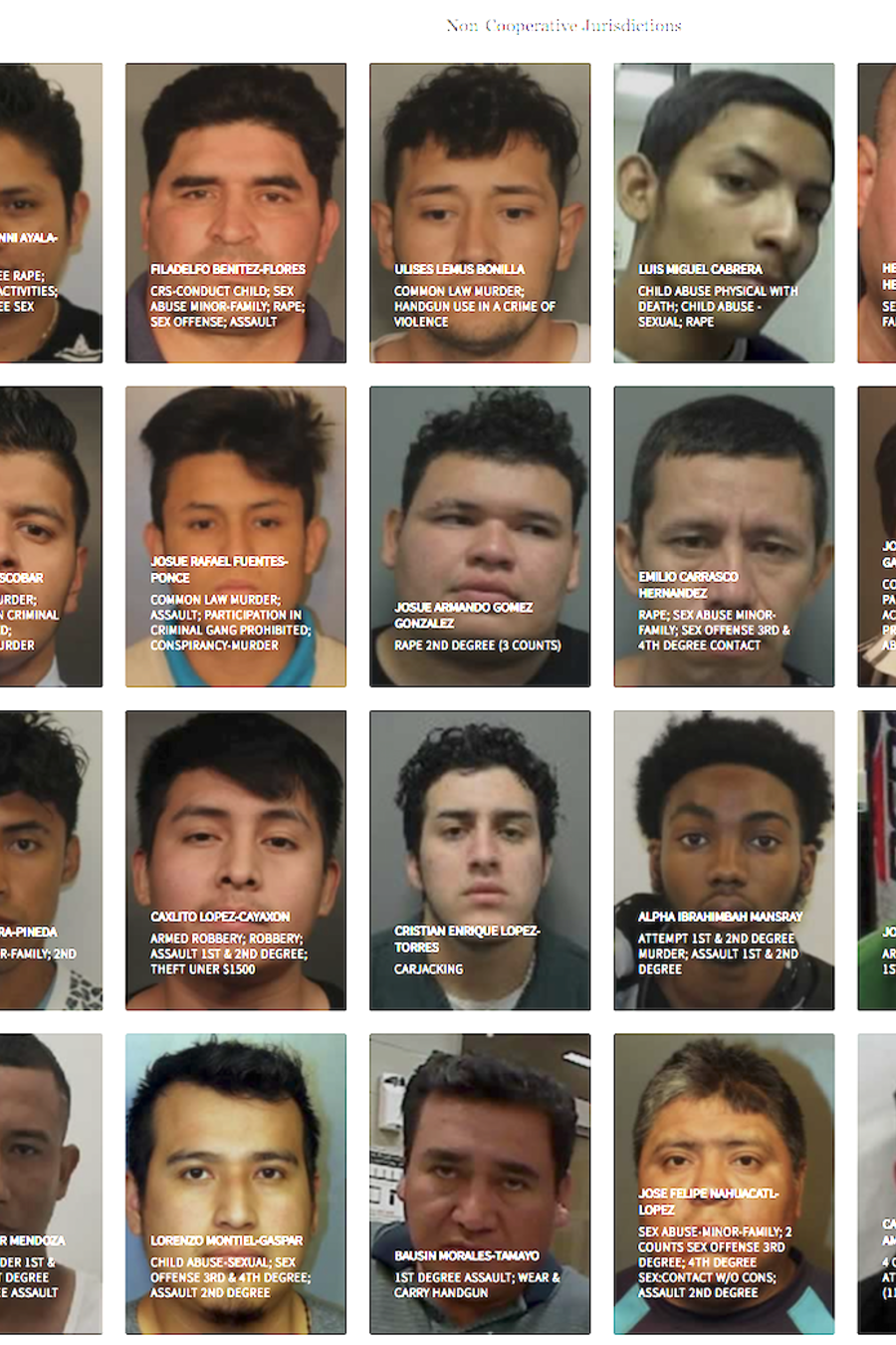 Página de ICE con arrestados a los querría deportar.
