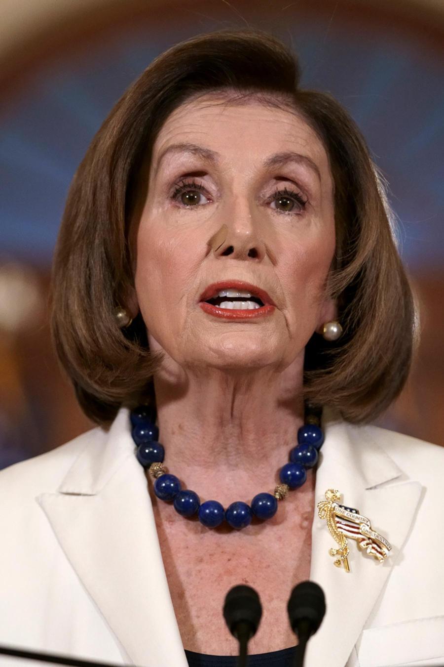 La presidenta de la Cámara de Representantes, Nancy Pelosi, hoy en el Capitolio.