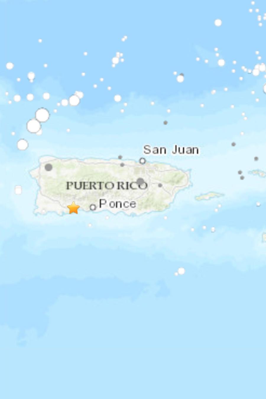 Mapa del epicentro del nuevo sismo en Puerto Rico.
