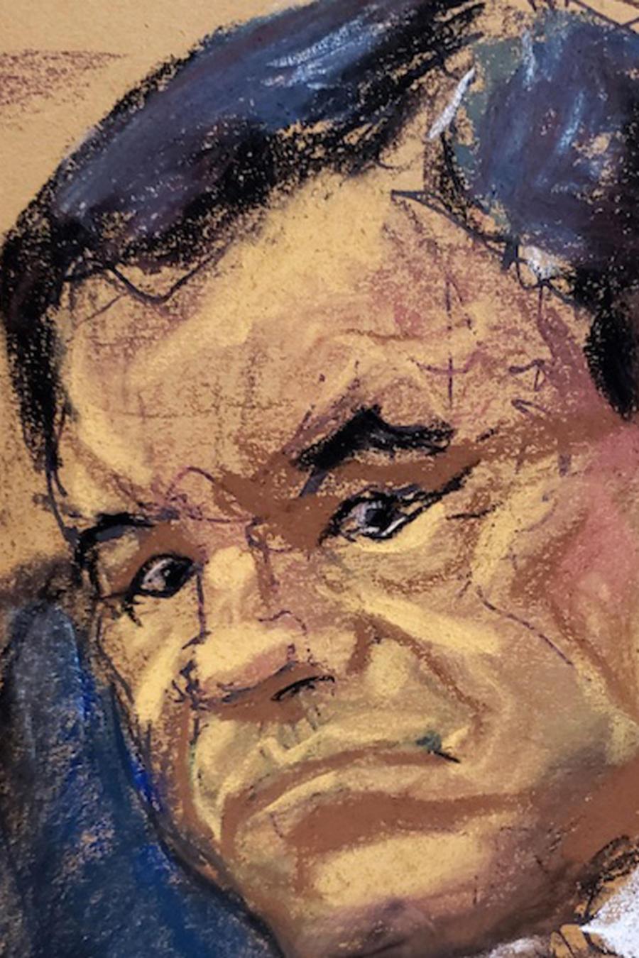 Un sketch de 'El Chapo' durante su juicio en una imagen de archivo.