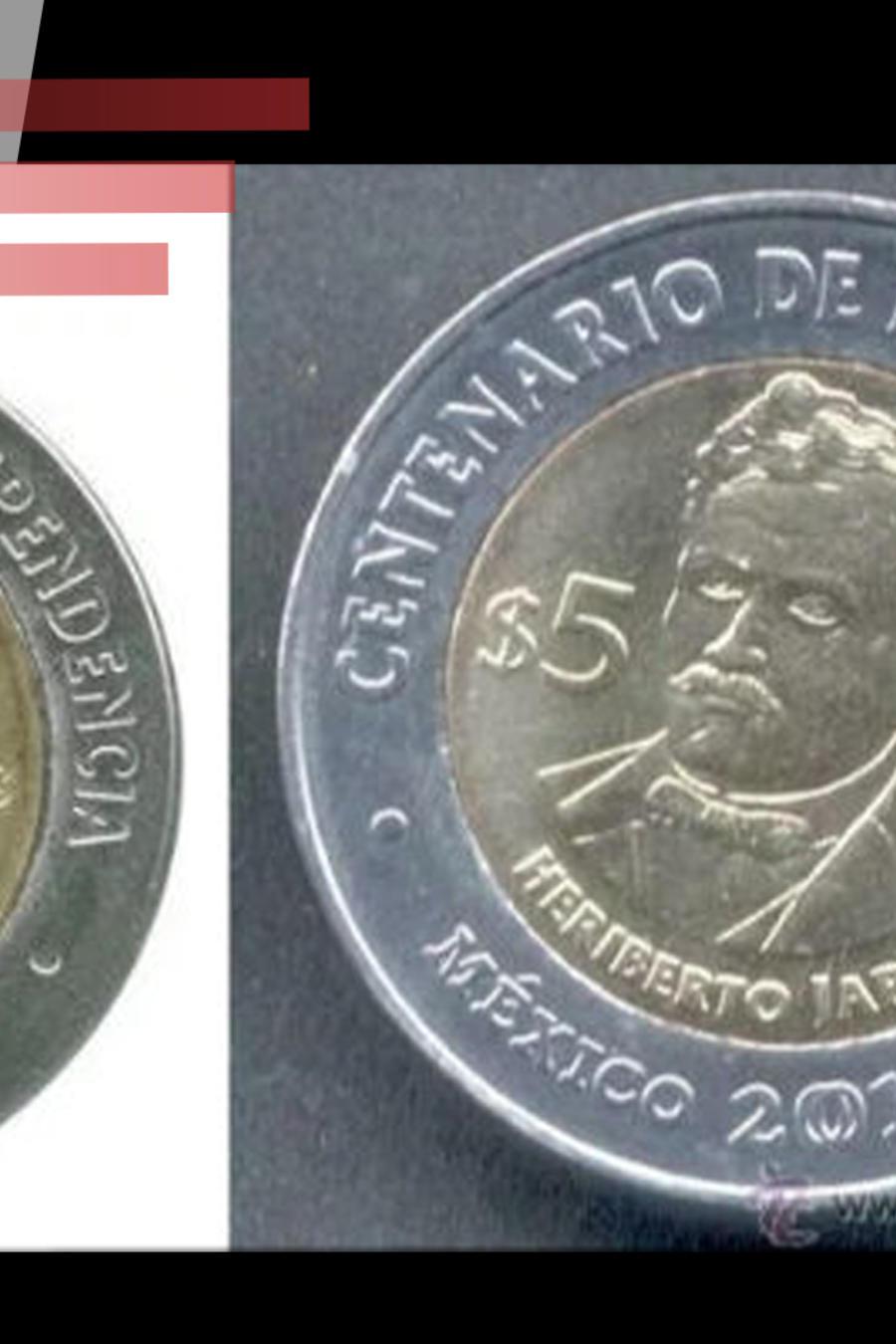 Monedas de 5 pesos mexicanos