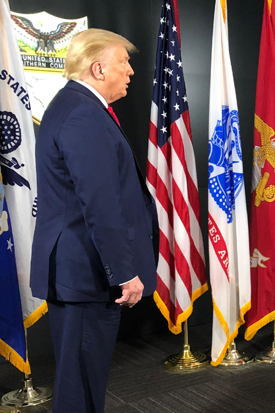 El presidente Donald Trump y el presentador de Noticias Telemundo José Díaz Balart en Miami, Florida, el 10 de julio 2020.