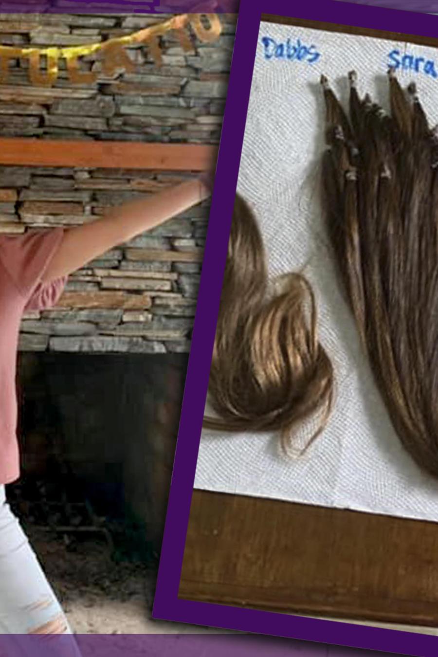 Mujer con cáncer peluca amigas