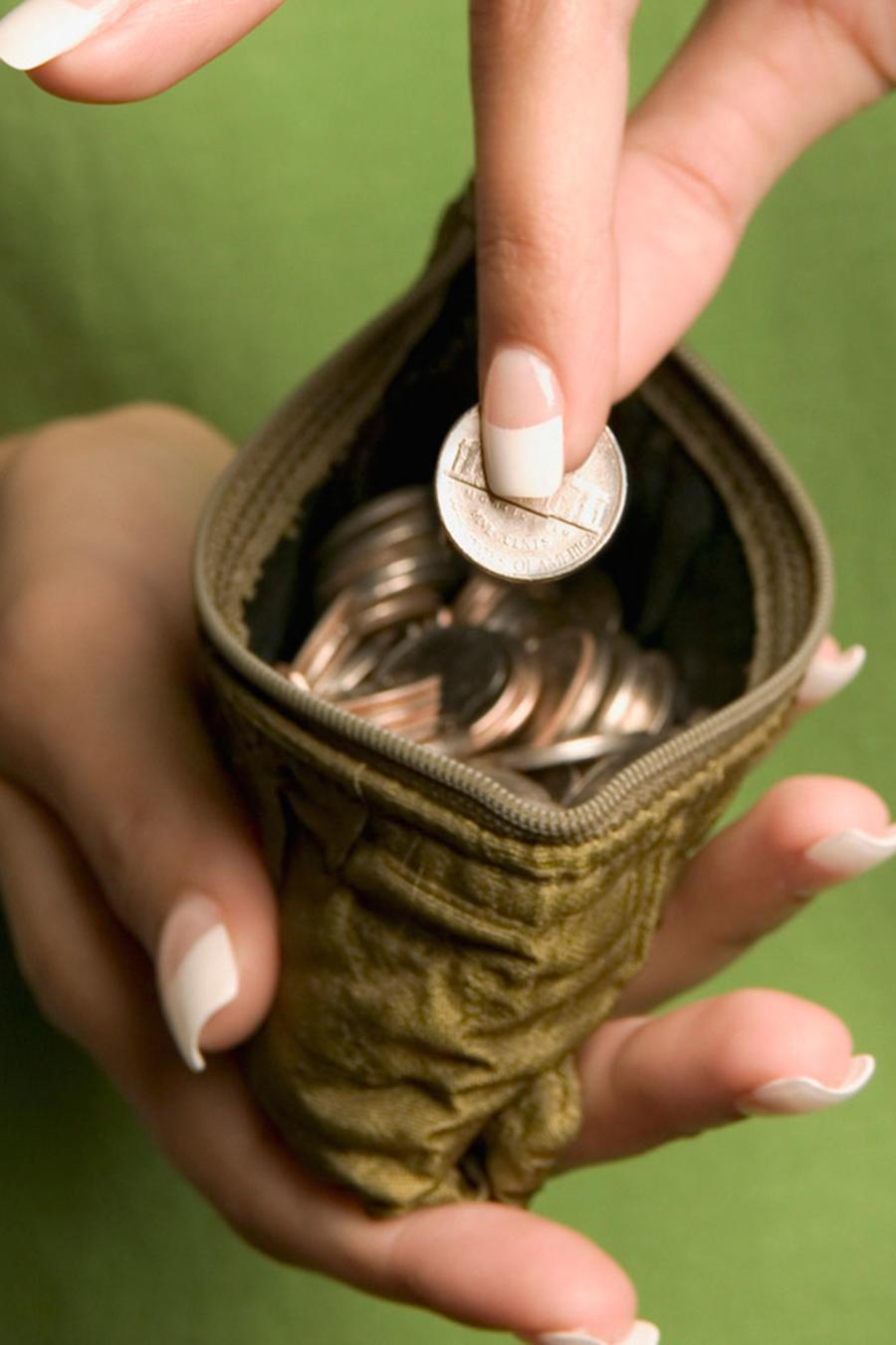 Monedero con monedas