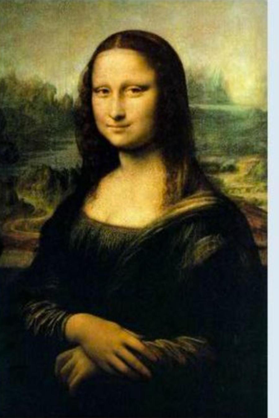 Imagen de Leonardo da Vinci junto a una copia editada.