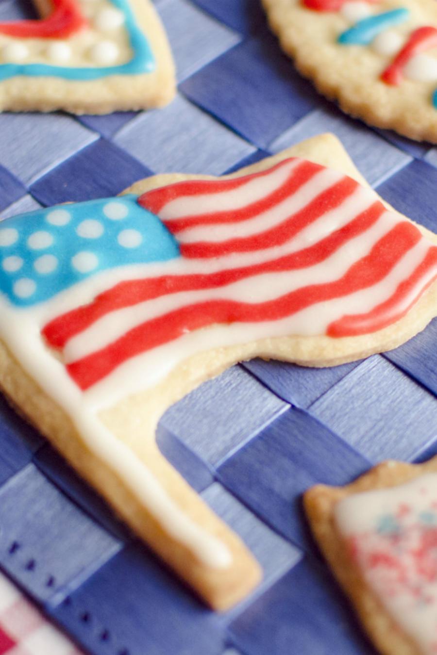 Galletas decoradas con los colores de la bandera de Estados Unidos.