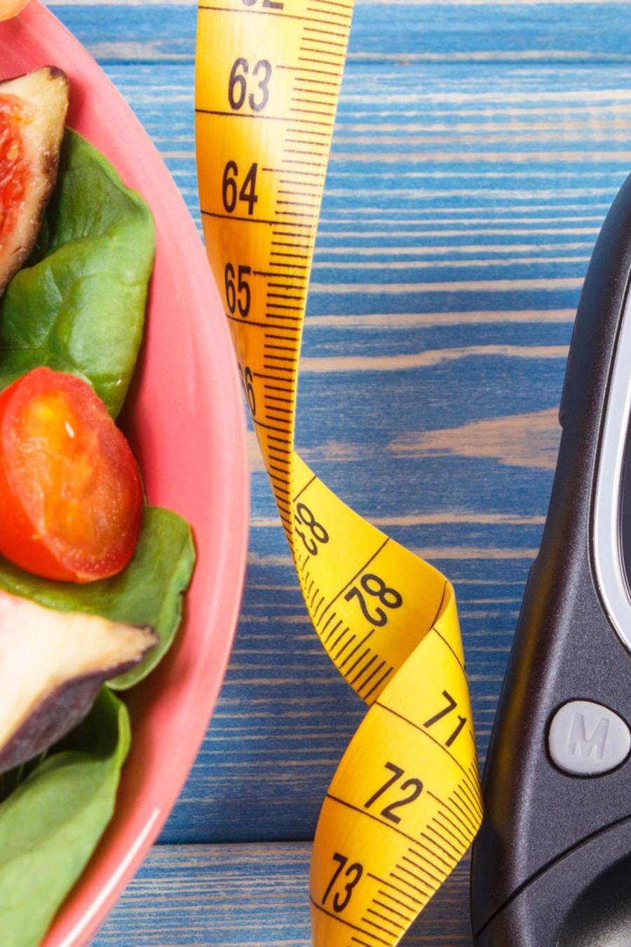 Alimentos y glucómetro