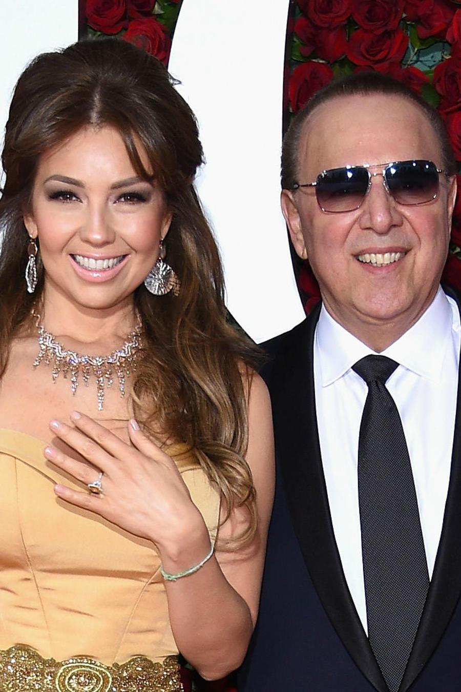 Thalía y Tommy Mottola en Tony Awards 2016