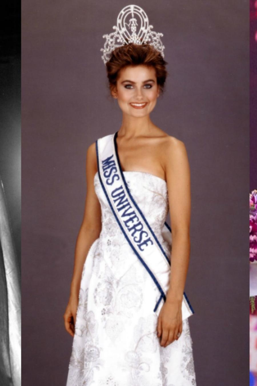 Hillevi Rombin, Karen Baldwin y Catriona Gray en el certamente de Miss Universo