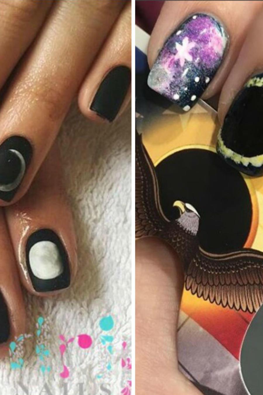 Collage diseños de uñas eclipse