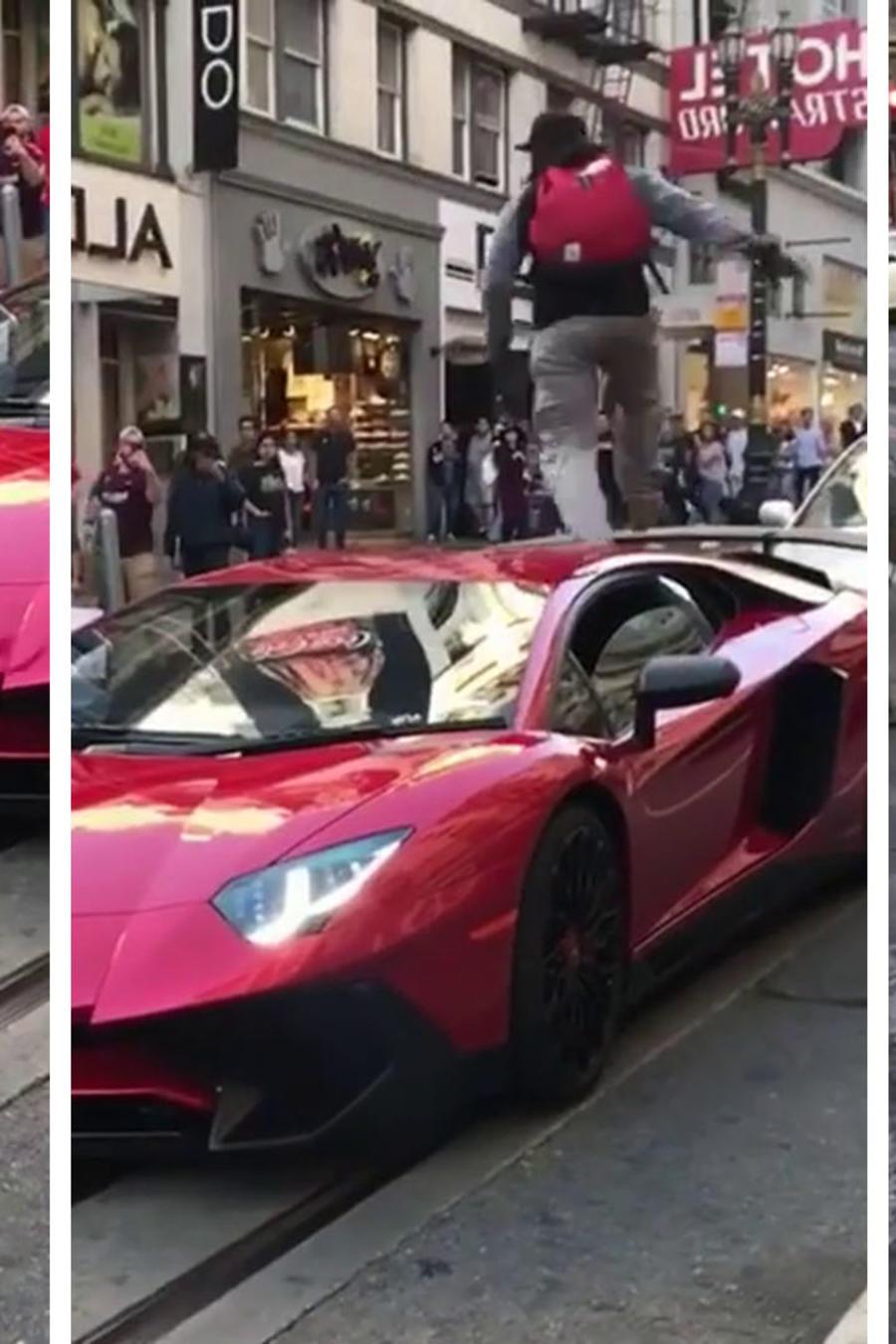 Se subió sobre un Lamborghini y desató una pelea