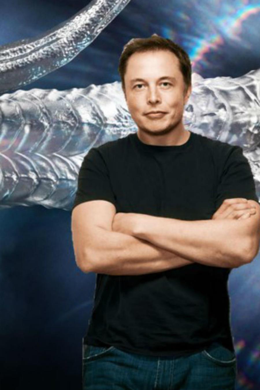 Elon Musk junto a un dragón