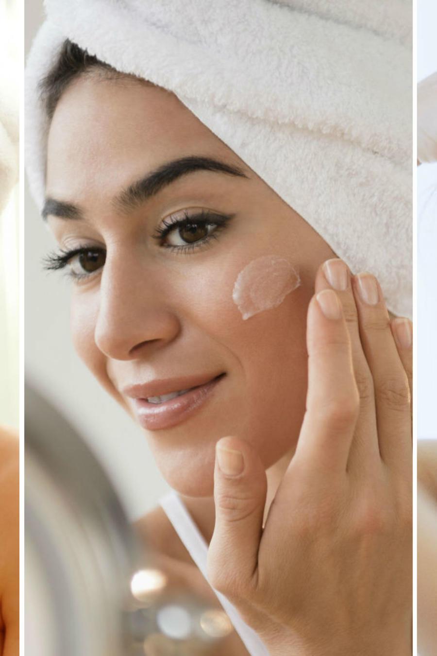 Mujer exfoliando su rostro