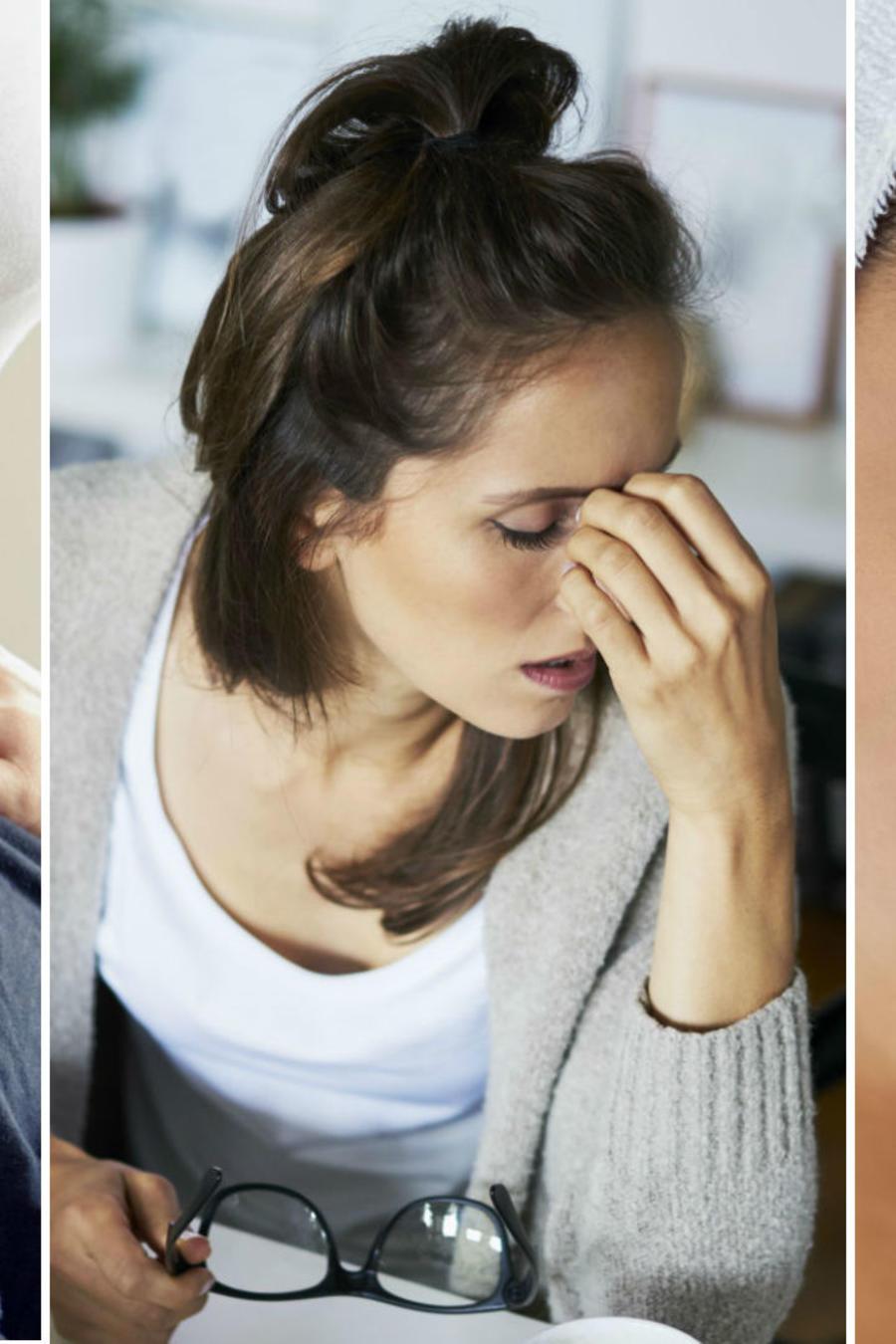 Mujer con dolor de cabeza y mal aliento