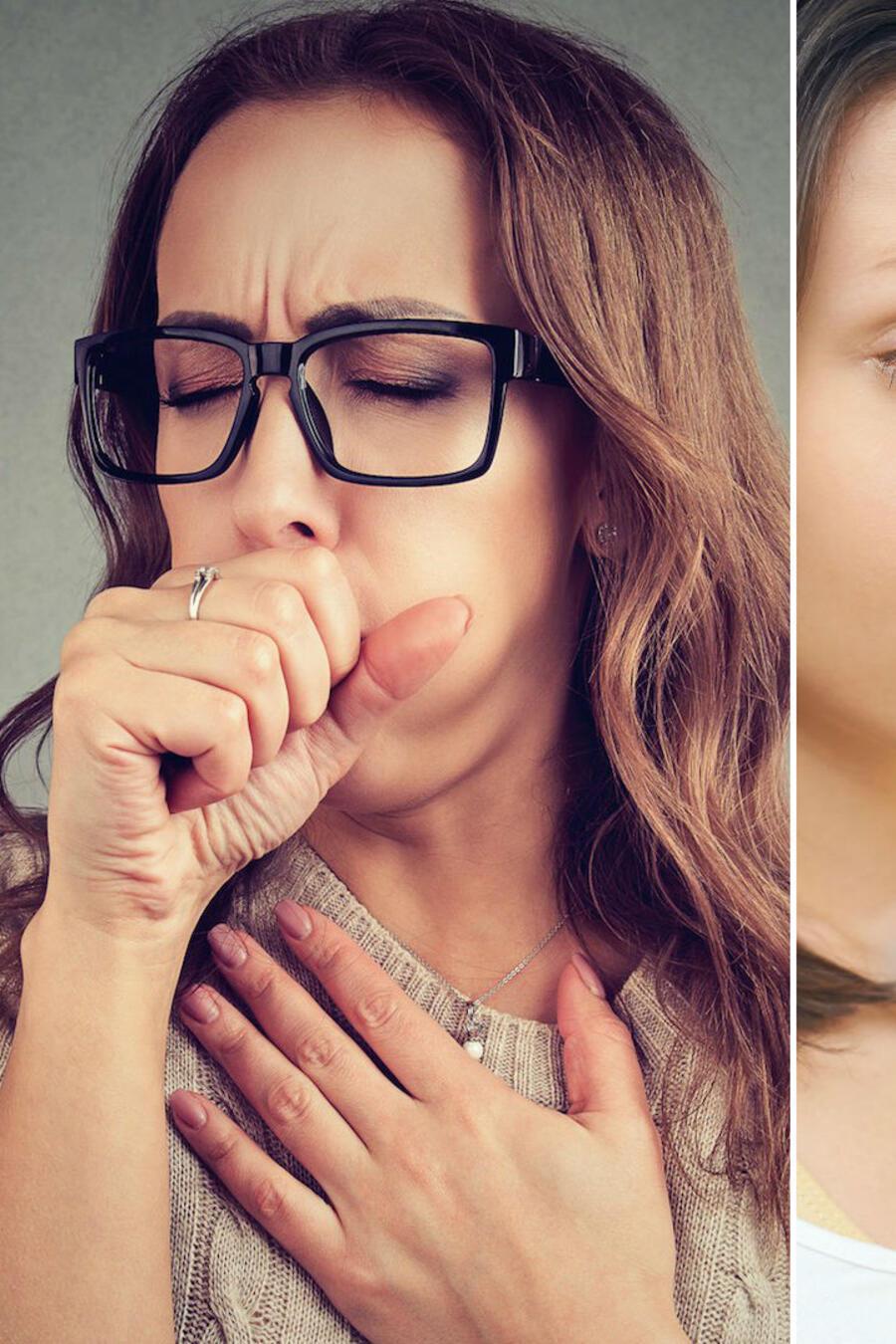Mujer tosiendo, mujer pesándose y mujer bostezando