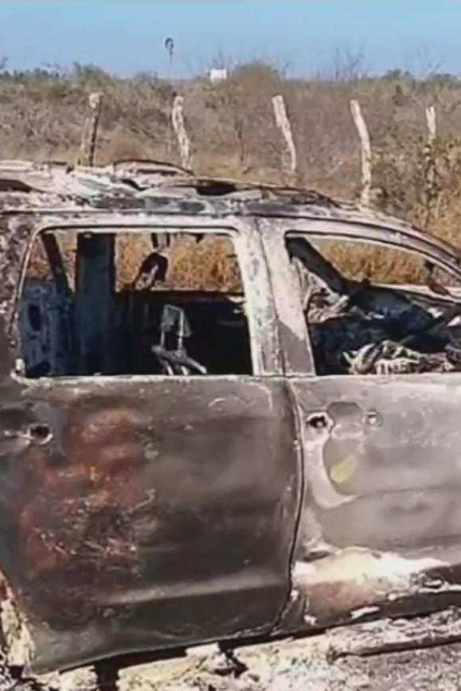 Camioneta quemada con 19 cadáveres de inmigrantes en Tamaulipas, México