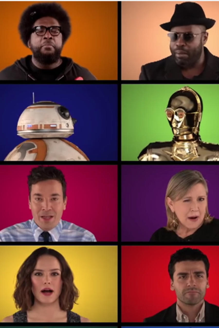 "Los actores de la película ""Star Wars: The Force Awakens"" cantan temas de la saga con Jimmy Fallon"