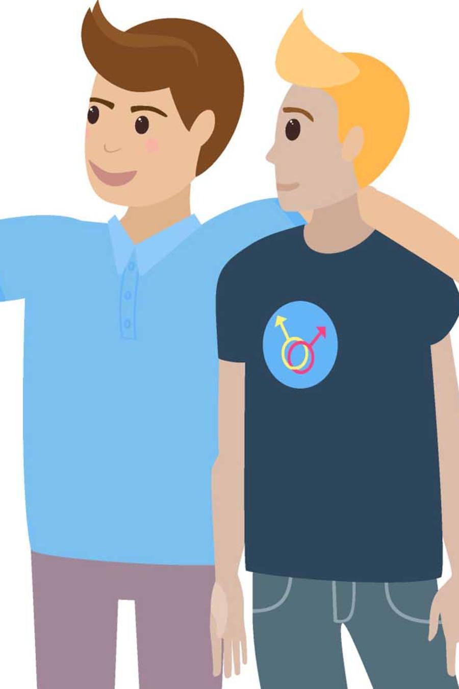 Dibujo de pareja gay haciéndose un selfie