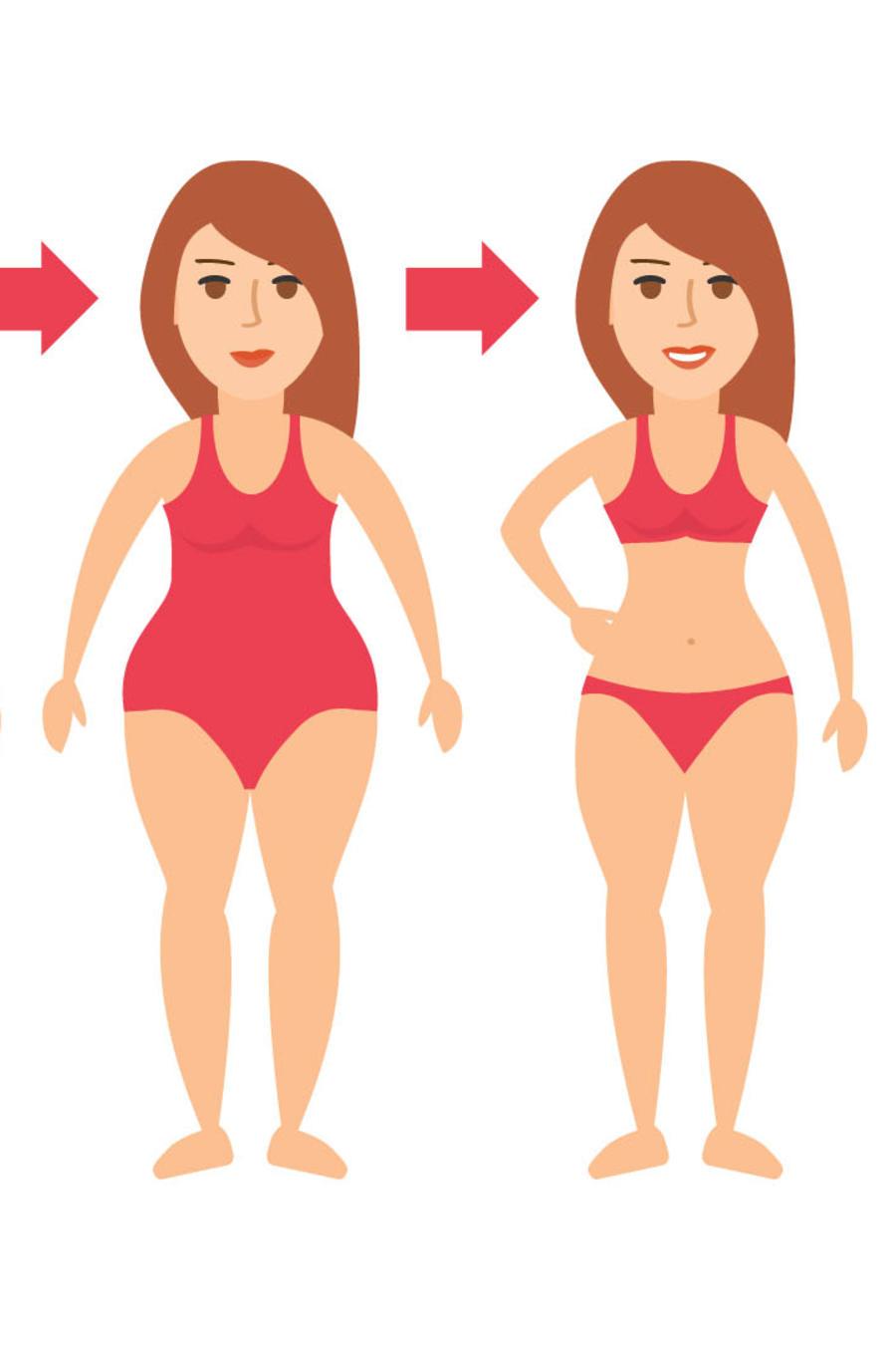 Dibujo transformación antes y después mujer