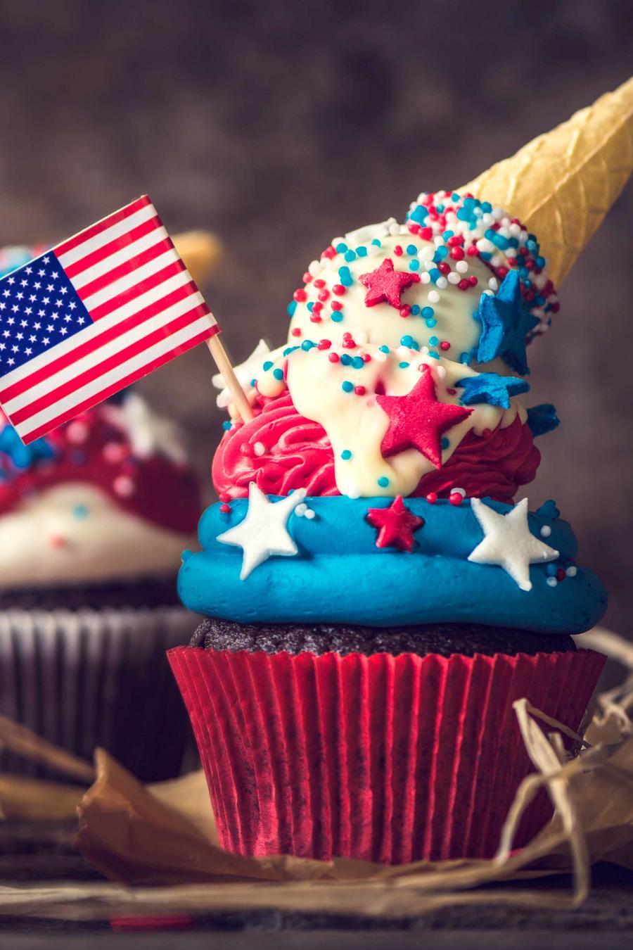 Cupcakes decorados con motivo del 4 de julio