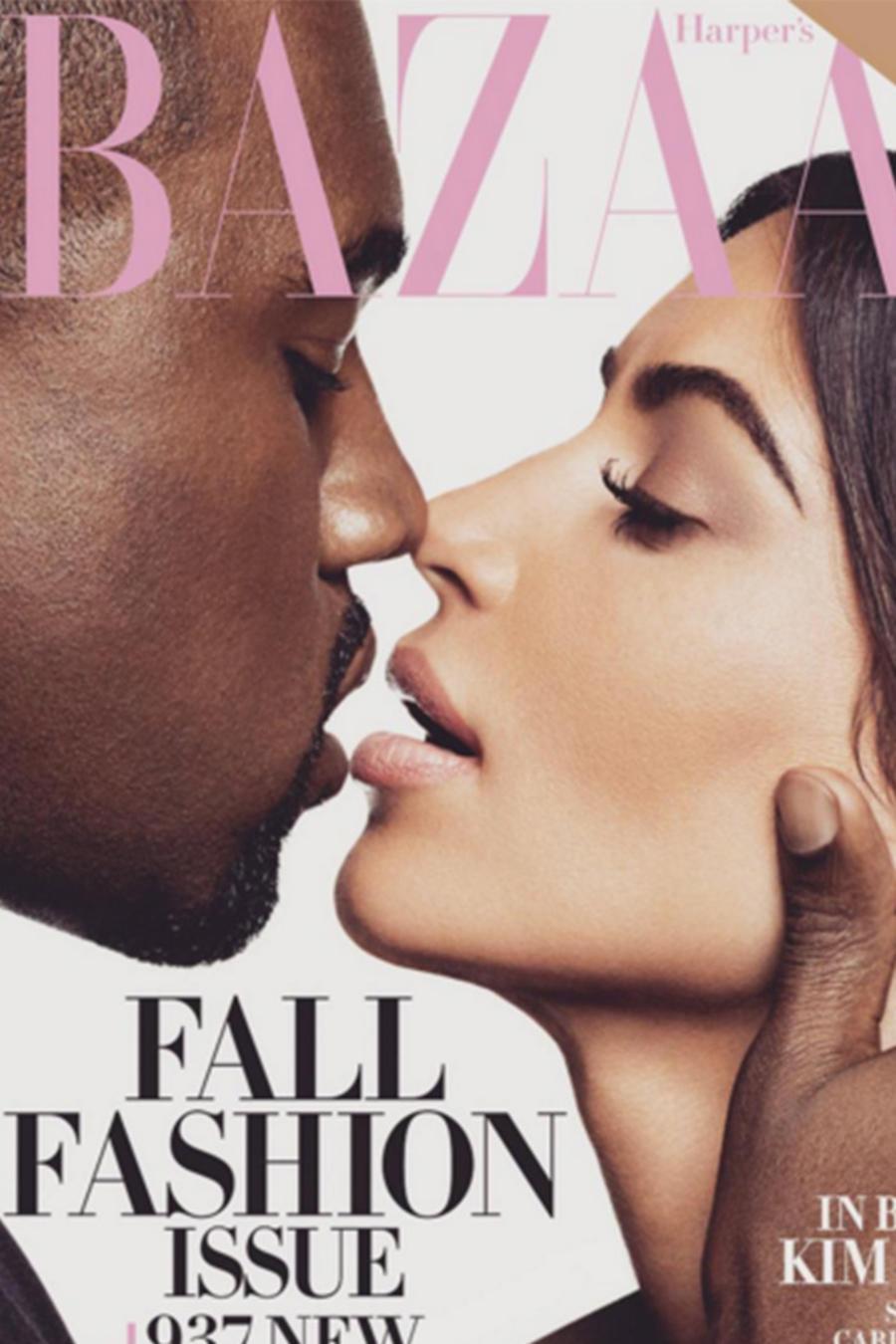 Kanye West y Kim Kardashian en la portada de Harper's Bazaar